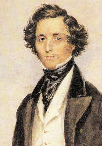William Sterndale Bennett - Felix Mendelssohn (detail) by James Warren Childe, 1839