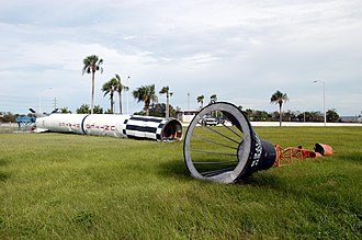 A Mercury Redstone rocket on display at Gate 3 was toppled by Hurricane Frances on September 7, 2004. Mercury-Redstone display toppled KSC-04PD-1721.jpg