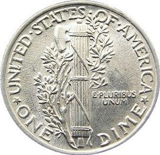Fasces - Image: Mercury dime reverse