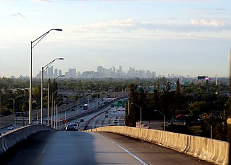 Golden Glades Interchange - View of the Miami skyline from the express lane overpass