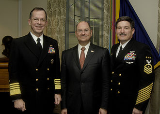 Michael Mullen - Then-Chief of Naval Operations, Admiral Mullen with Secretary of the Navy Donald Winter and MCPON Terry D. Scott, February 2006