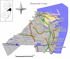 Map of Middletown Township in Monmouth County. Inset (left): Monmouth County highlighted within New Jersey.