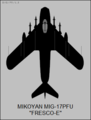 Mikoyan-Gurevich MiG-17PFU top-view silhouette.png