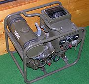 Engine - generator for a radio station (Dubendorf museum of the military aviation). The generator worked only when sending the radio signal (the receiver could operate on the battery power)