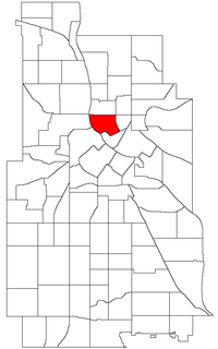 Location of St. Anthony West within the U.S. city of Minneapolis