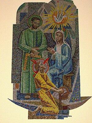 English: Tile Mosaic of Jesus, Mary and Joseph...