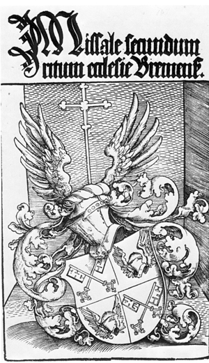 Johann Rode von Wale - Rode's crest on the frontispice of his Missale Bremense