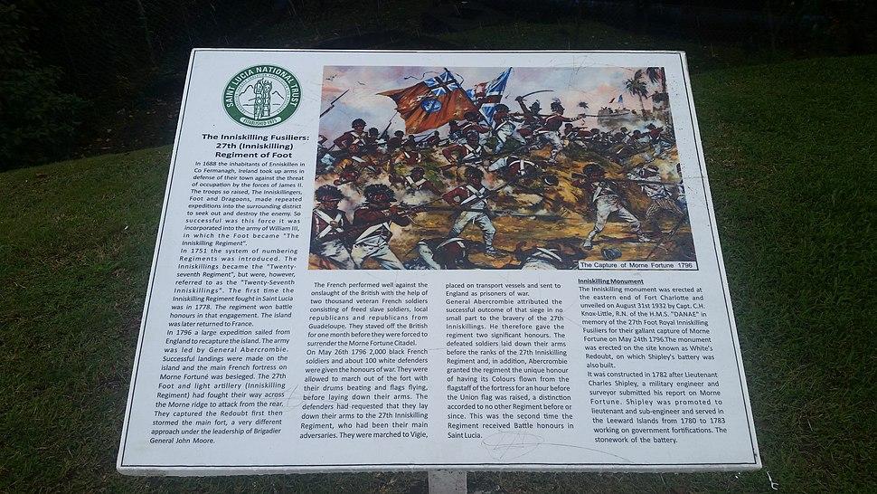 Morne Fortune historical marker for the Inniskilling Monument