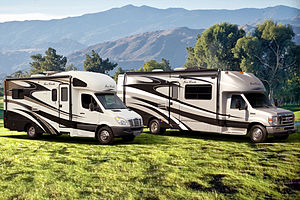 Motorhome - Two Class C motorhomes, built on (left) Freightliner Sprinter and (right) Ford E-Series chassis.