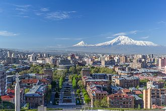 Mount Ararat, the national symbol of Armenia, dominates the Yerevan skyline Mount Ararat and the Yerevan skyline in spring from the Cascade.jpg