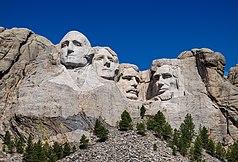 Die vier Präsidenten (von links nach rechts): George Washington, Thomas Jefferson, Theodore Roosevelt und Abraham Lincoln.