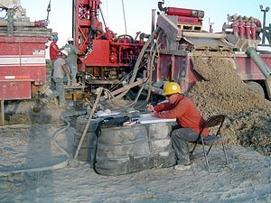 Hydrocarbon exploration - Mud log in process, a common way to study the rock types when drilling oil wells.