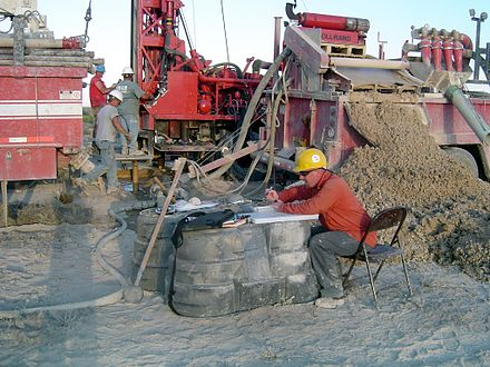 Mud log in process, a common way to study the lithology when drilling oil wells.