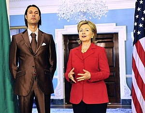 Libya–United States relations - Libyan National Security Adviser Mutassim Gaddafi with Hillary Clinton in 2009