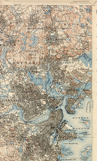 Mystic River - A 1903 USGS map of the Mystic River and environs