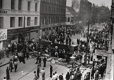 Barricades erected during a general strike, Norrebro, Copenhagen, July 1944 Norrebro Riot.jpg