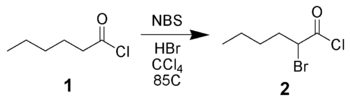 Alpha-bromination of hexanoyl chloride