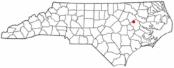 Location of Falkland, North Carolina