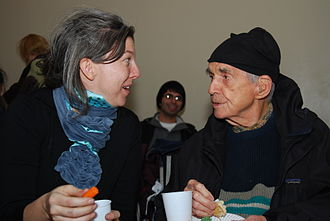 Daniel Berrigan - Berrigan and his niece, Frida Berrigan, at the Witness Against Torture event held in NYC's Lower East Side on December 18, 2008