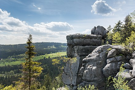 The Table Mountains are part of the Sudetes range in Lower Silesia. Na Szczelincu Wielkim 3.JPG