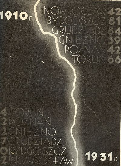 A Polish-language poster, illustrating the drop in German population in selected cities of western Poland in the period 1910-1931 Nalot niemczyzny 1910 1931.jpg