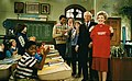 "Nancy Reagan on the set of television show ""Diff'rent Strokes"" with Conrad Bain, Todd Bridges, Dana Plato, Mary Jo Cattlett, and Shavar Ross 1983-03-09.jpg"