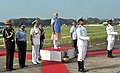 Narendra Modi inspecting the Guard of Honour at the ceremonial welcome, at Kochi, in Kerala. The Union Minister for Defence, Shri Manohar Parrikar, the Chief of the Air Staff.jpg