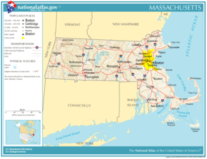 Prominent roads and cities in Massachusetts.