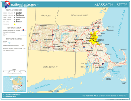 Massachusetts Wikipedia - Us map massachusetts highlighted