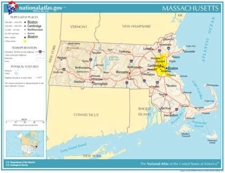 Prominent roads and cities in Massachusetts National-atlas-massachusetts.png