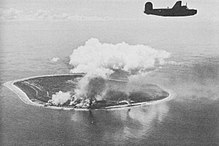 Nauru Island under attack by B-24 Liberator bombers of the US Seventh Air Force.