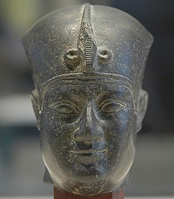 Statue of Nectanebo I with khepresh crown