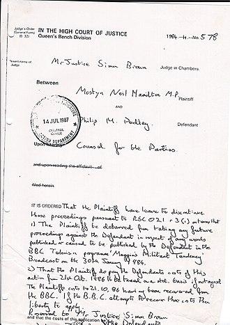 Neil Hamilton (politician) - Image: Neil Hamilton v Pedley Liability Costs Panorama Case