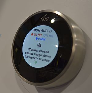 Internet of things - A Nest learning thermostat reporting on energy usage and local weather.