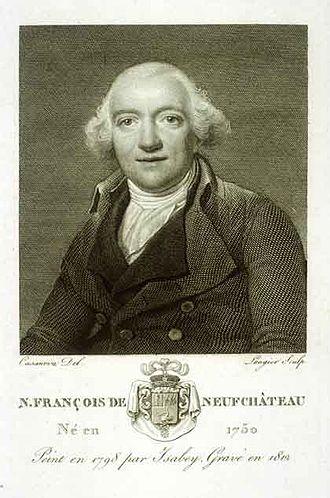 François de Neufchâteau - Nicolas-Louis François de Neufchâteau (1798 engraving after a portrait by Jean-Baptiste Isabey).