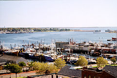 View of ships docked at New Bedford.