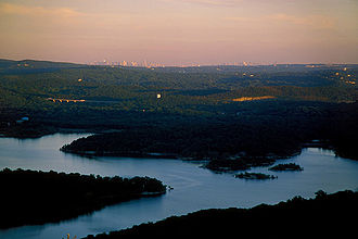 West Milford, New Jersey - View of Wanaque Reservoir and Manhattan from a mountain near the West Milford-Ringwood border.