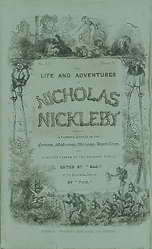 Nicholas Nickleby - Cover of serial, Vol. 13 1839
