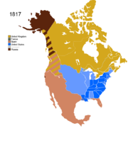 Map showing Non-Native Nations Claim over NAFTA countries c. 1817