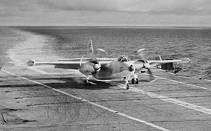 North American AJ-2 Savage of VAH-6 lands on USS Yorktown (CVA-10), 6 December 1955 (NH 97459).jpg