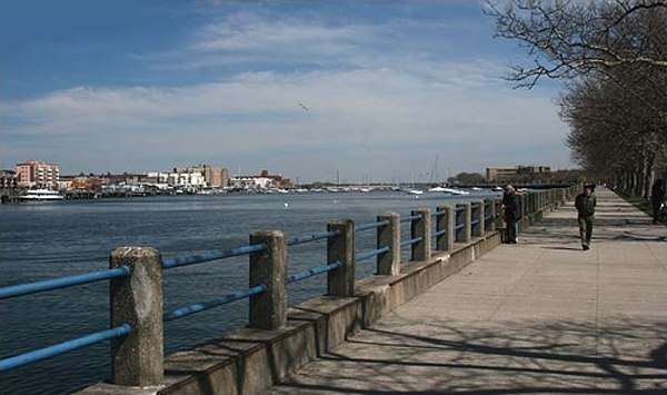 Northern esplanade of Manhattan Beach, and along Sheepshead Bay in Brooklyn, NY, looking east