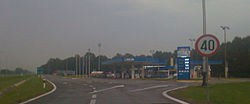 Approach to Novska rest area. A filling station is visible in the photo foreground.