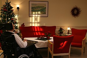 Social support - Old man at a nursing home in Norway.