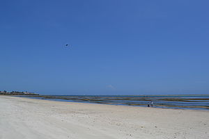 Nyali Beach towards the north from Reef Hotel during low tide and still conditions in Mombasa, Kenya 4.jpg