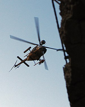 Operation Marne Torch - An OH-58D Kiowa Warrior from the 3rd Brigade Combat Team, 3rd Infantry Division, patrols the sky over Arab Jabour during Marne Torch I, 28 June 2007.