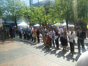 Oath of Allegiance (United States) - 15 people from ten countries take the United States Oath of Allegiance on World Refugee Day in Boise, Idaho in June 2015.