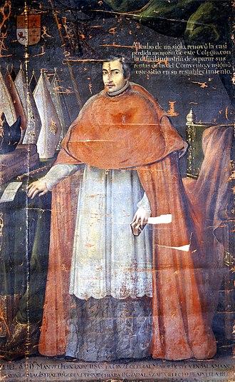 Manuel Fernández de Santa Cruz - Santa Cruz in an anonymous portrait - now in the Museo Nacional del Virreinato, Tepotzotlán, México.