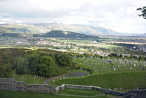 Ochil Hills - Ochil Hills viewed from Stirling Castle. The scarp face formed by the line of the Ochil Fault can be seen clearly. The Abbey Craig is in the middle distance.