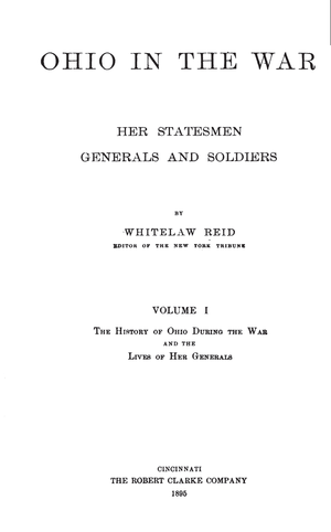 Ohio in the War - title page of volume 1, 1895 edition