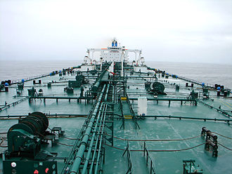 Naval architecture - Deck of an oil tanker, looking aft